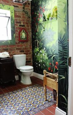 Jungle Bathroom Ideas New Jungle Fever ♥ Boho Eclectic Bathroom Hadeda Talavera Tiles – Homedecor Bad Inspiration, Bathroom Inspiration, Interior Inspiration, Furniture Inspiration, Eclectic Bathroom, Bathroom Styling, Bohemian Bathroom, Modern Bathroom, Jungle Bathroom