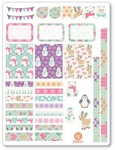 One 6 x 8 sheet of Cute Winter decorating kit/weekly spread planner stickers cut and ready for use in your Erin Condren life planner, Filofax, Plum