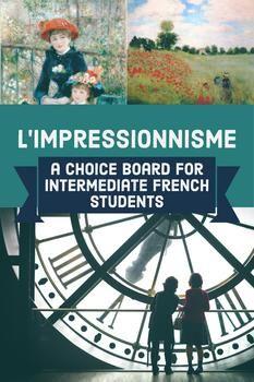 French impressionist art unit choice board