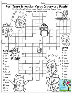 Past Tense Irregular Verbs Crossword Puzzle- Such a FUN activity for third…