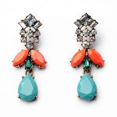 """Coral Drop Earrings Beautiful Faux Coral Drop Earrings  Size: 0.90"""" x 2.36""""  Materials: Vintage Style Gold-tone Base Metals, Resin, Rhinestones  Nickel & Lead Free  Condition: New Jewelry Earrings"""