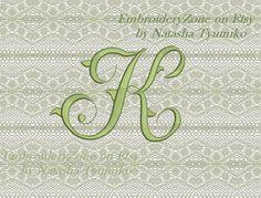 Monogram letter K . Vintage style font k.  от EmbroideryZone