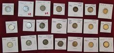 Lot of 21 Dimes 90% Silver assorted dates Barber/ Mercury etc..Ungraded see pics #coincollection #dimes #silvercoins