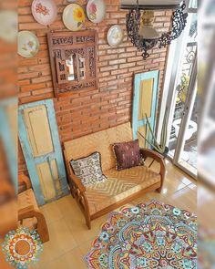 Brick Interior, Living Room Lounge, Corner House, Cool Cafe, Home Design Plans, Simple House, Minimalist Home, Style At Home, Traditional House