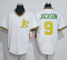 9213c1a8c7d Mitchell And Ness Athletics  9 Reggie Jackson White Throwback Stitched MLB  Jersey Cheap Baseball Jerseys