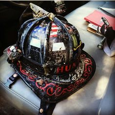 """Repost from our good friend at @cairns_fire_helmets """"Owner: @iplayerxs """" Its always a treat seeing our gear in service (BaySick Leather helmet band and chin strap)  If you haven't please give the page a follow you wont be disappointed! ! ・・・  www.baysickleather.com  #Baysickleather #firefighter #fireengine #radiostrap #calfire #forestfire #firerescue  #kcco #smokeshowing #chiveon #firestation #firefighterleather #firetraining #firewoman #bomberos #turnoutgear #baysick_leather #chiefmiller"""