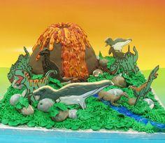 Volcano Dinosaur Cake  by whimsical.whisk, via Flickr
