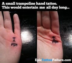 Trampoline hand tattoo, never boring again