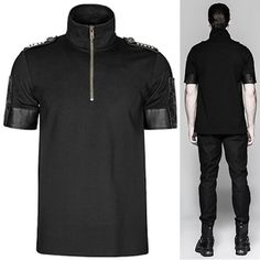 Men Black Short Sleeve Gothic Military Fashion Top Clothing SKU-11409425