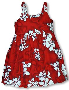 2de2a328 Girl's Hawaiian style; Infant, Toddler, Small Girl's Dress Shadow White  Hibiscus created in