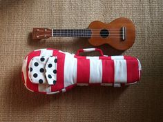 Soprano ukulele case -Happy Red - Red and white stripe Ukulele Case. (Made to order)