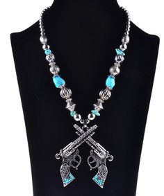Beaded Vintage Turquoise Gun Revolver Western Necklace Jewelry