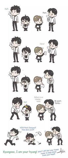 LOL cute... EXO Exo Cartoon, Exo Anime, Exo Fan Art, Bts And Exo, K Idol, Kpop Fanart, Rap Monster, Funny Cute, Chibi