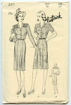 1940's Dress Pattern Butterick 2371 Misses Shirt Dress Pleated Skirt Vintage Sewing Pattern Bust 36 by GreyDogVintage on Etsy https://www.etsy.com/listing/168335733/1940s-dress-pattern-butterick-2371