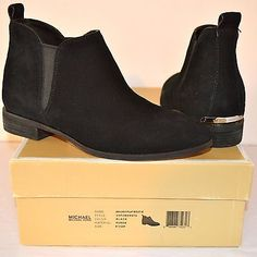 New $185 Michael Kors Brandy Flat Bootie Black Suede Short/Ankle Boot sz 6.5