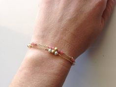 Two bracelets in one price Gold plated silver by PlusLoveStudio - euro Euro, Coral, Pearls, Chain, Unique Jewelry, Bracelets, Handmade Gifts, Silver, Pink