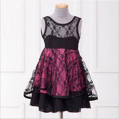 Charismatic Black n Hot Pink Lace Dress #lacedress #baby   Size: 2-3 years 3-4 years 4-5 years 5-6 years 6-7 years