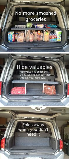 Best Ideas For Cars Hacks : Illustration Description Picture of Handy Pop-up Trunk Shelf -Read More – Costura Diy, Car Essentials, Car Hacks, Car Cleaning Hacks, Car Storage, Diy Car, Useful Life Hacks, Organization Hacks, Suv Trunk Organization