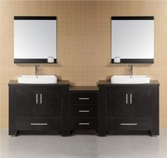 Bathroom Double Bathroom Vanities With Large And Long Closets As Well As Large Mirrors And Large Drawers Modern Designs Of Double Bathroom Vanities