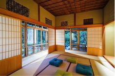 3) Japanese Style Sliding Doors Or Screens An authentic Japanese screen is called a Shoji, and it is an essential design element in Japanese homes. Japanese homes tend to be small so conserving every square inch of space is essential. Shoji's slide back and forth, saving space that a swinging door would take up.  They do not block the natural light and views of nature.  Read more: http://freshome.com/2014/07/29/10-ways-to-add-japanese-style-to-your-interior-design/#ixzz390SZgJWi