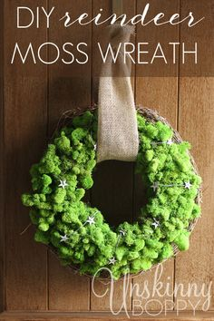 A DIY Reindeer Moss wreath makes a festive, simple and beautiful addition to any holiday decor!