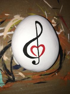 Rock Painting - Treble Clef and a heart? Music from the heart?