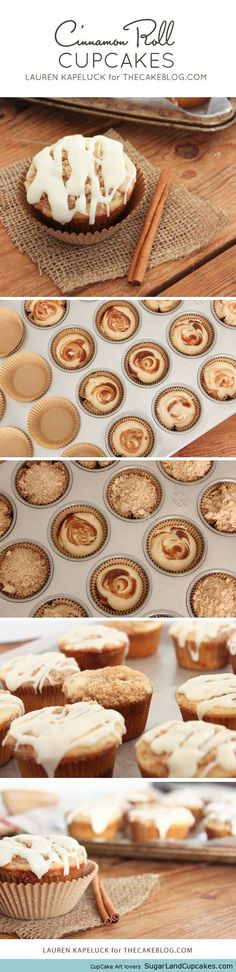 Cinnamon Roll CupcakesCinnamon Roll Cupcakes. Delicious cupcakes packed full of cinnamon and brown sugar, with two layers of cinnamon-swirl inside, topped with streusel and a drizzle of glaze. Recipe by Lauren Kapeluck.Source: thecakeblog.com