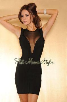 HMS EXCLUSIVE: Black Mesh Sleeveless LUXE Bandage Dress - As seen on Megan Fox