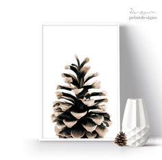 Christmas Printable Poster, Pinecone Print, Christmas Decoration, Christmas Print, Winter Print, Christmas Gift, Winter Wall Art, Winter Art