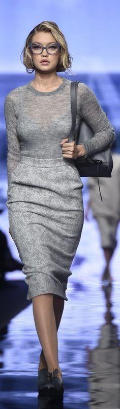 Gigi Hadid in grey knits and cat-eye glasses at Max Mara during Milan Fashion Week