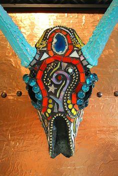 Mosaic Deer Skull Deer Antlers European Mount Sugar by GlassByKat