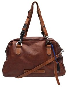 Sports holdall bag in brandy from Pauric Sweeney. This leather shoulder bag features double adjustable shoulder straps, optional cross-body strap, top zipper closure, and orange lining with an interior zipper pocket. Measures 9