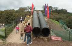 slide made from drain pipes