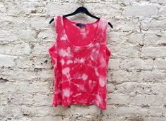 Boho Womens Tank Top Tie Dye Salmon Pink with Diamantes to fit UK size 16 or US size 12 Hippie Christmas Gifts