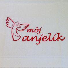 Vyšívaná osuška s krásnim anjelikom. Krásny darček na Vianoce.