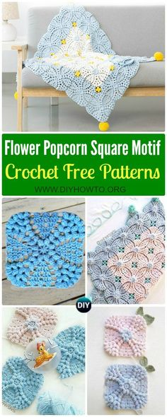 Collection of Crochet Pearl Flower Popcorn Square Motif Free Patterns: Crochet Popcorn Motif,  Crochet Popcorn Square Blanket via @diyhowto