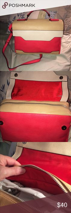 "NEW COLOR BLOCK PURSE! THREE COLORS SALMON , BEIGE AND CREAM. 12"" WIDE X 10"" . COME WITH SHOULDER STRAP. TOOK OUT OF BAG TO TAKE PHOTOS. A REALLY COOL POP OF COLOR !  Bags Shoulder Bags"