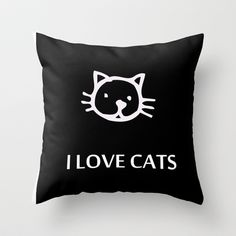 I LOVE CATS Throw Pillow by catspaws - $20.00