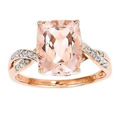 Cushion-Cut Morganite and Diamond Accent Ring in 14K Rose Gold - Size 7