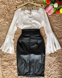 Spinelly 💋 Cute Skirt Outfits, Cute Church Outfits, Cute Skirts, Business Casual Outfits, Professional Outfits, Trendy Outfits, Retro Fashion, Korean Fashion, Modest Fashion