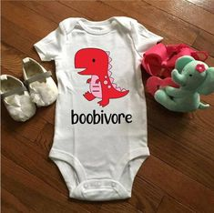 """""""Boobivore"""" Funny baby onesie with a cute dino print Cute Baby Onesies, Newborn Onesies, Funny Baby Girl Onesies, Newborn Baby Boy Gifts, Funny Baby Shirts, Baby Boy T Shirt, Baby Gifts, Funny Baby Clothes, Funny Babies"""