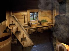 Interior of the traditional Juuka based smoke sauna introduced in the Wall… Sauna Design, Bath Design, Traditional Saunas, Winter Lodge, Outdoor Sauna, Finnish Sauna, Steam Sauna, Sauna Room, Homes