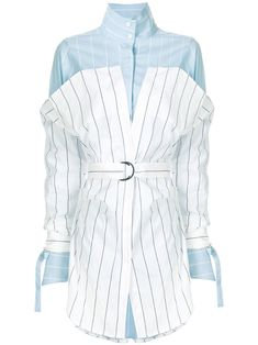 Strateas Carlucci Striped Hybrid Shirt In Blue Kpop Fashion Outfits, Stage Outfits, Fashion Dresses, Classy Outfits, Stylish Outfits, Vetement Fashion, Fashion Vocabulary, Designs For Dresses, African Print Fashion