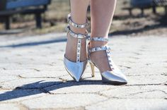 Shoes I love: Metallic silver studded heels