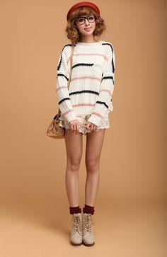 $26.78 Korean striped wild loose round neck sweaters