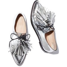 An oxford with tassels is always timeless (and especially good paired with feminine separates and dainty dresses), but this silver metallic leather version—upda