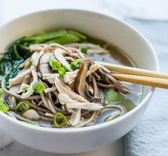 Chicken Mushroom Soba Noodle Soup | Kitchen Confidante - used 100% buckwheat noodle - more vege, less noodles, sub canola w olive oil, use tamari, sub kosher w Himalayan sea salt, use tamari and organic chicken broth, add zucchini