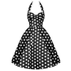 1 Vintage Polka Dots Retro Hepburn 50's Rockabilly Swing Prom Party Pinup Dress