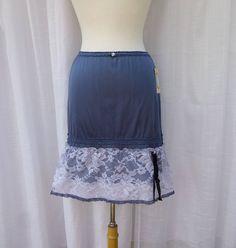 Slip Skirt Small Charcoal Blue Navy Glam Garb Handmade USA