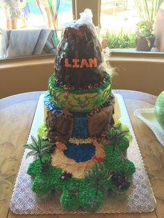 Dinosaur & Smoking Volcano Cake by Kellie Dunlap